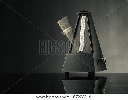 Metronome On Grey Background - Horizontal