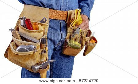 Construction Contractor Carpenter Man With Tools On White