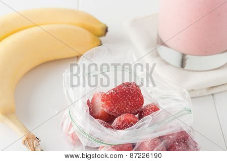 Frozen Strawberries In Clear Plastic Bag
