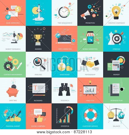 Set of flat design style concept icons for business and internet marketing