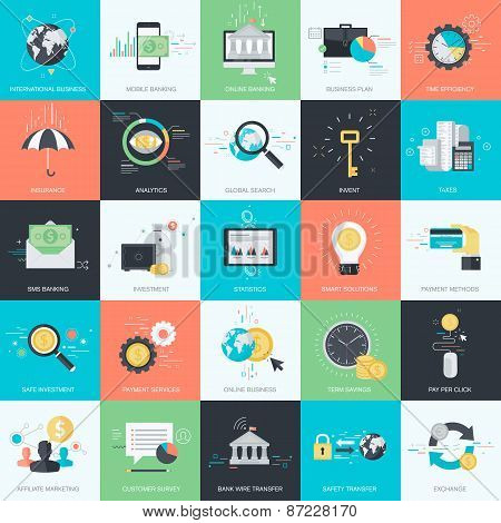 Set of flat design style concept icons for finance