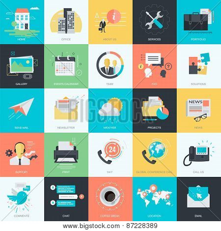 Set of flat design basic icons website design