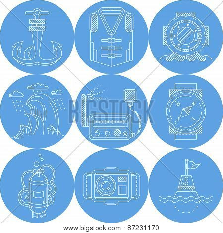 Blue round marine vector icons