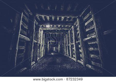 Underground Tunnel In The Mine, Hdr