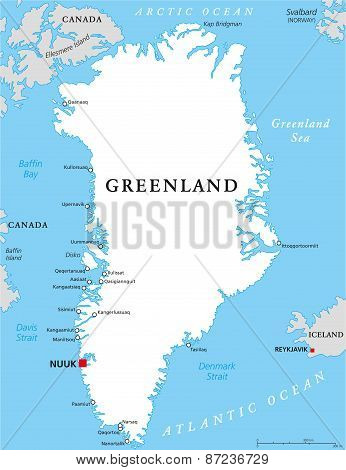 Greenland Political Map with capital Nuuk and important cities. Autonomous country within the Kingdom of Denmark. English labeling and scaling. Illustration. poster