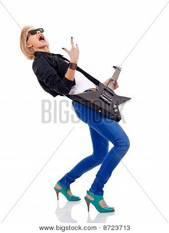 Energic Blond Girl With Guitar