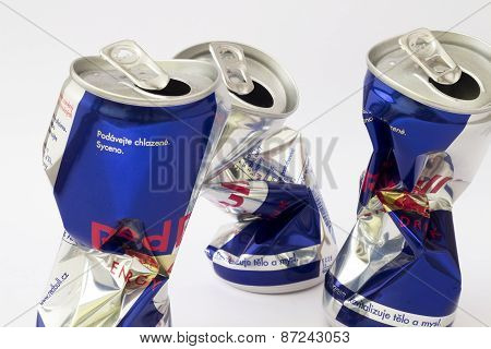 Crumpled can of Red Bull energy drink