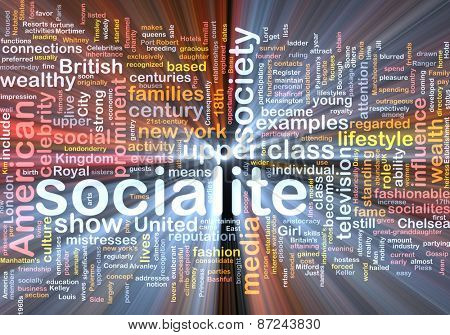 Background text pattern concept wordcloud illustration of socialite glowing light