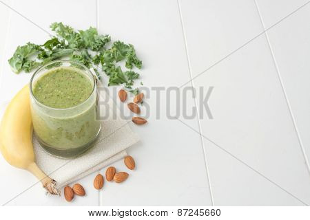 Green Smoothie, Ingredients Include Bananas, Fresh Kale And Almonds