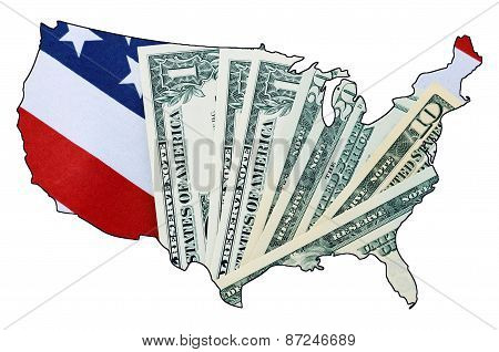 Usa Stars And Stripes Flag And Money Within Outline Of Usa Map.