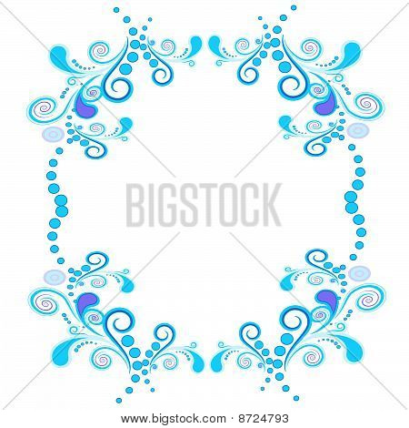 Floral and spiral elements border frame. Vector.