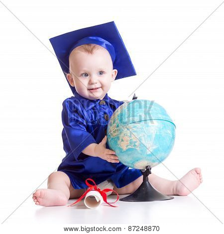 Cute Baby Boy In Student Hat With Globe And Scroll