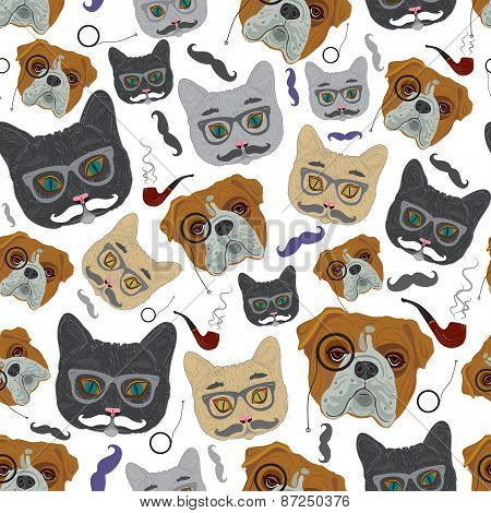 Cat and Dog. Vector seamless pattern. Dog gentleman, hipster cat. poster
