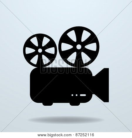 Icon of Film Projector. Cinema Projector. Vector Illustration poster