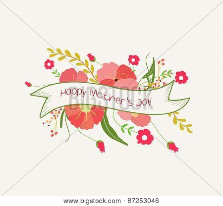 happy mother day with flower label