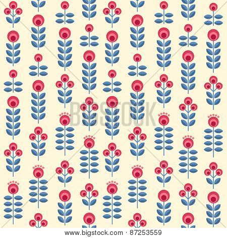 Scandinavian folk style flowers - seamless floral pattern based on traditional folk ornaments. Vector illustration. poster