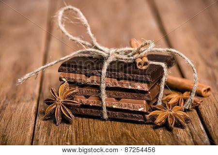 Chocolate Set, Star Anise And Cinnamon Sticks Close Up