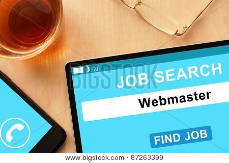 Tablet with Webmaster  on job search site.