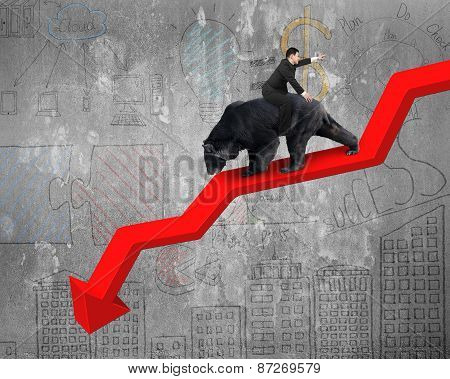 Businessman Riding Bear On Arrow Downward Trend Line With Doodles