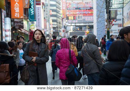 People Walking Around Myeongdong