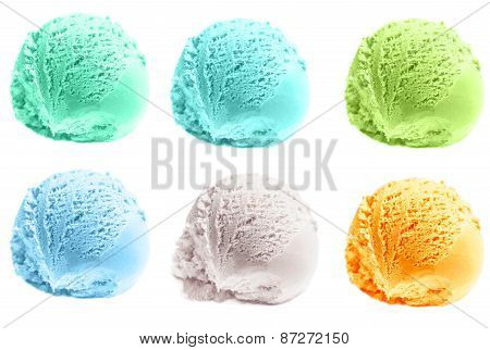 Scoop Of Ice Cream Isolated  On White Background. Ball Of  Ice-cream Close Up.