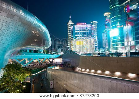 Dongdaemun Plaza skyscrapers and shopping area, Seoul