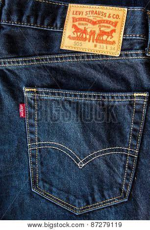 Closeup of leather like heavy card stock label of a pair of Levi's brand