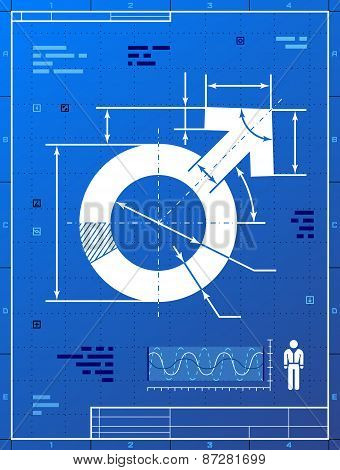 Male Symbol As Blueprint Drawing