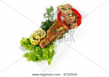 Served Tuna With Vegetables