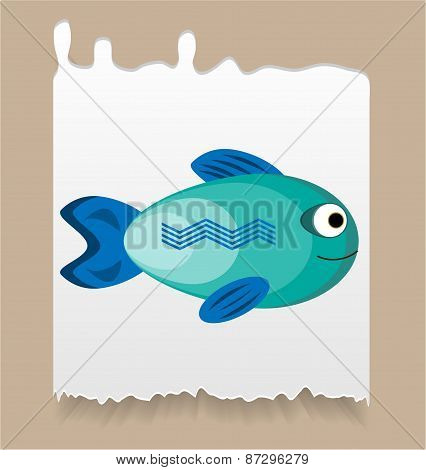 Piece of paper with simple, blue, smiling fish