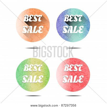 Set, collection, group of four round, isolated, flat, colorful - orange, blue, green, red - buttons,