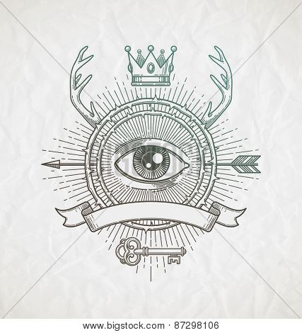 Abstract tattoo style line art emblem with heraldic elements and undercover symbols - vector illustration