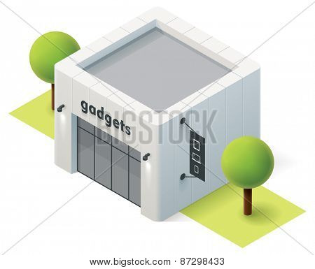 Vector isometric gadget store building icon