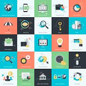 Set of flat design style concept icons for graphic and web design. Icons for finance, banking, m-banking, business, investment, marketing, e-commerce. poster
