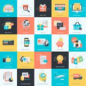 Set of flat design icons for graphic and website design. Icons for e-commerce, m-commerce, online shopping. poster
