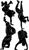 silhouette collection breakdance break dance vector illustration poster