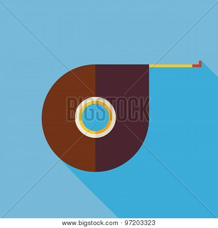 Flat Office Measurement Tool Yardstick Illustration With Long Shadow
