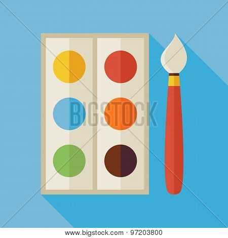 Flat Palette With Colorful Paints And Paintbrush Illustration With Long Shadow