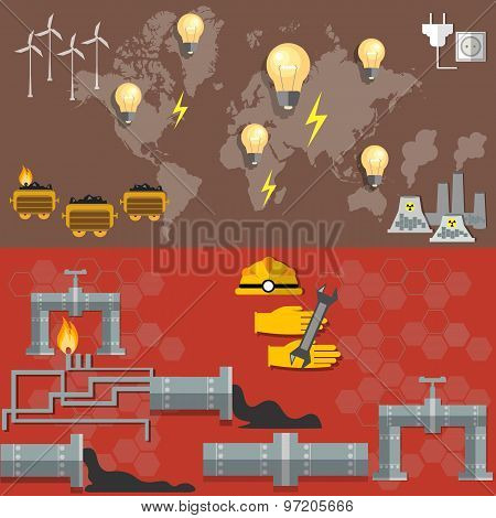 World oil productionenergy nuclear plants fuel fabrication nuclear power electricity pipeline oil worker miner coal oil petroleum petrochemical plant vector banners poster