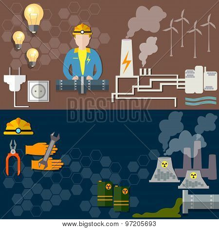 Electric Power, Nuclear Energy, Oil Worker, Coal Mining, Wind Power, Gas Pipeline, vector banners