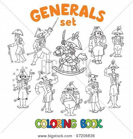 General or officers coloring book set