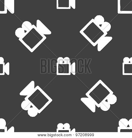 Camcorder Icon Sign. Seamless Pattern On A Gray Background. Vector