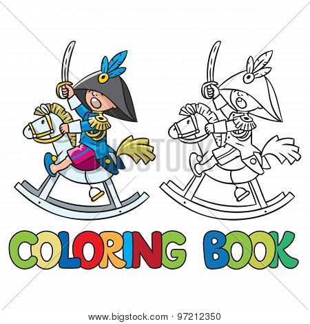 Brave boy on wooden horse. Coloring book