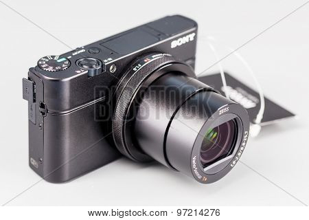 Berlin, Germany - July 20, 2015 : studio shot of 4k hi-speed camera Sony DSC-RX100 IV.