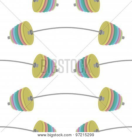 Barbell Powerlifting Seamless Pattern. Vector Background Power Of Projectiles.