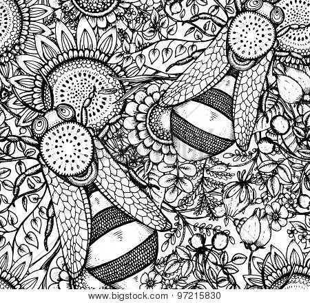 Seamless Vector Pattern With Bee, Flowers And Berries