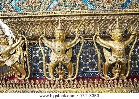 Decorative patterns in Wat Phra Kaew, also known as the Temple of the Emerald Buddha, that also includes the former residence of the Thai monarch, the Grand Palace. Bangkok, Thailand. poster