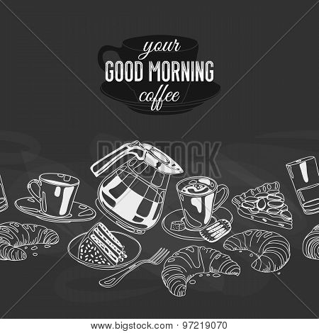 Vector seamless boarder with coffee and sweets.