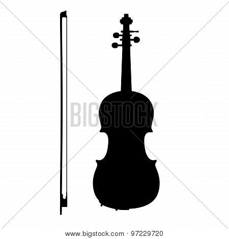 Silhouette Of Violin With The Bow