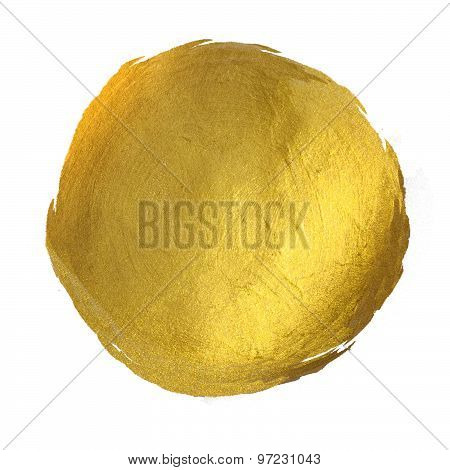 Gold Round Shining Paint Stain Hand Drawn Illustration